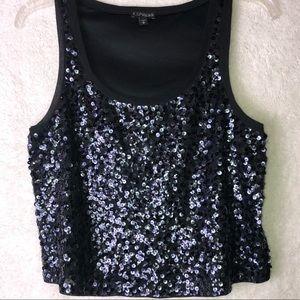 Express Black Sequin Crop Top